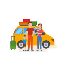 young family with children go on a trip by car vector image