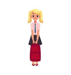 Student girl in school uniform holding backpack vector