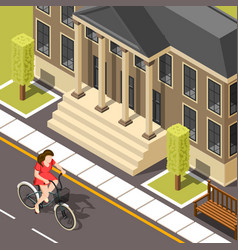 Cyclist isometric background vector