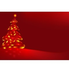 Red background and xmas tree vector