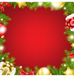 Christmas red background with ribbon and xmas ball vector
