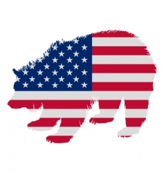 Grizzly in stars and stripes vector