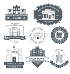 City buildings label template of emblem element vector