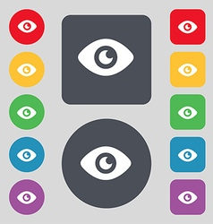 Eye publish content icon sign a set of 12 colored vector