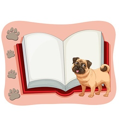 Open book and a pet dog vector