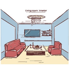 Living room interior color hand drawing vector