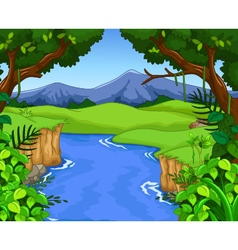Green forest with river vector