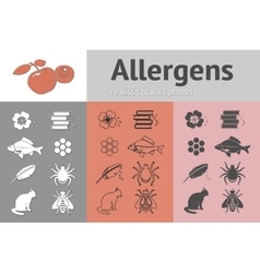 Allergen set fish cat insect honey bee apple vector
