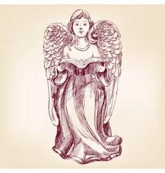 angel hand drawn llustration vector image vector image