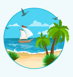 Boat on beach vector