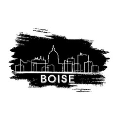boise skyline silhouette hand drawn sketch vector image