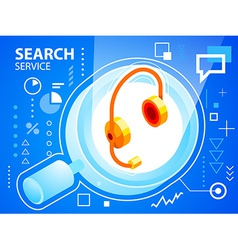 bright search glass and head phone on blue b vector image vector image