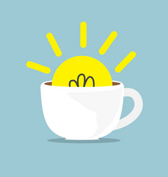 Bulb idea in white coffee cup vector