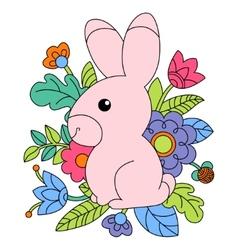 cartoon pink bunny vector image vector image