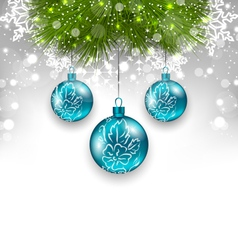Christmas background with glass balls and fir vector image vector image