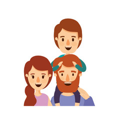 Colorful caricature half body family parents with vector