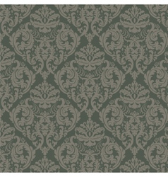 Damask ornament pattern in green color vector