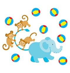 elephant and monkeys vector image vector image