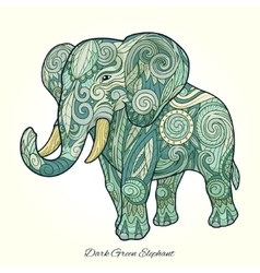 Elephant dark green ornament ethnic vector