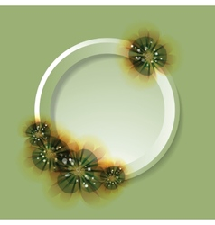 Flowers and circle on the greeting card green vector image