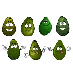 Funny green avocado fruits cartoon vector