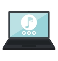 Laptop music player app modern vector
