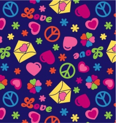 love and peace seamless pattern vector image vector image