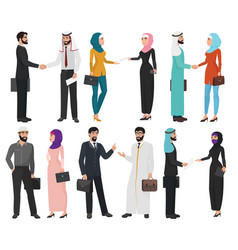 muslim arabic business people isolated collection vector image vector image
