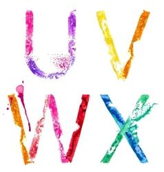 Paint splash font uvwx vector
