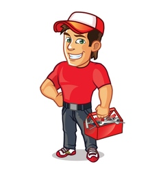 Plumber carrying tool kit vector