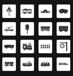 Railway icons set squares vector