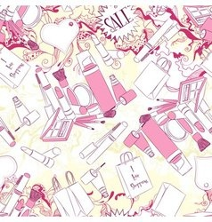 Seamless pattern with cosmetics and fashion vector image