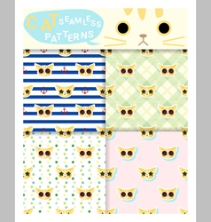 Set of animal seamless patterns with cat 1 vector