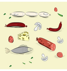 set of hand drawn food vector image vector image