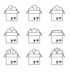 Set of templates with the full box icons vector