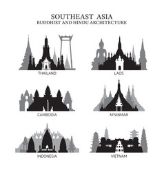 Southeast asia buddhist and hinduism architecture vector