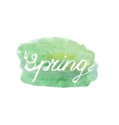 Spring lettering on green abstract backgr vector image vector image