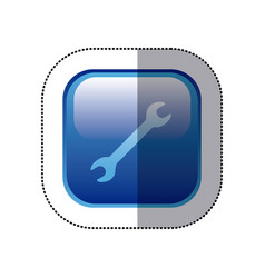 Sticker blue square frame with wrench tool icon vector