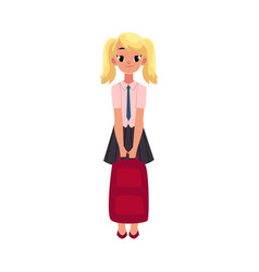 student girl in school uniform holding backpack vector image