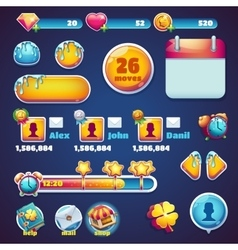 Sweet world mobile gui set elements web games vector