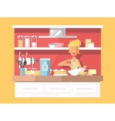 Housewife bakes cake vector image