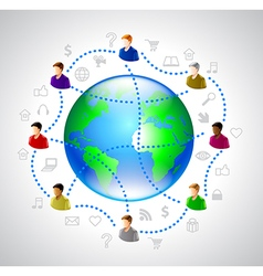 Network people concept with globe vector