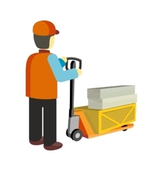 Worker with cargo cart vector