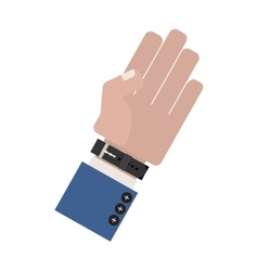 Hand side with formal blue sleeve and watch vector