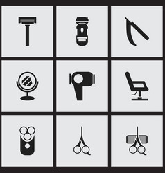 Set of 9 editable tonsorial artist icons includes vector