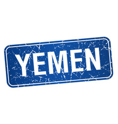 Yemen blue stamp isolated on white background vector