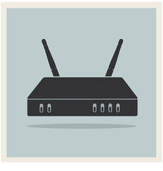Wi-Fi Router on Blue Retro Background vector image