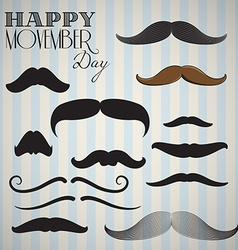 Retro vintage mustache set for happy movember day vector