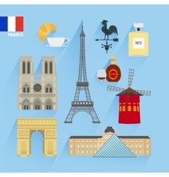 France flag and paris landmarks vector
