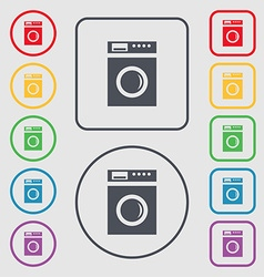 Washing machine icon sign symbols on the round and vector